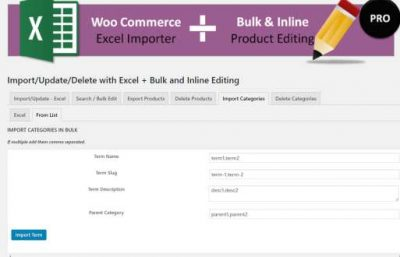 IMPORT PRODUCT CATEGORIES FROM UI AND EXCEL