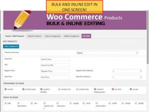 Woocomerce Product Bulk edit Admin-screen